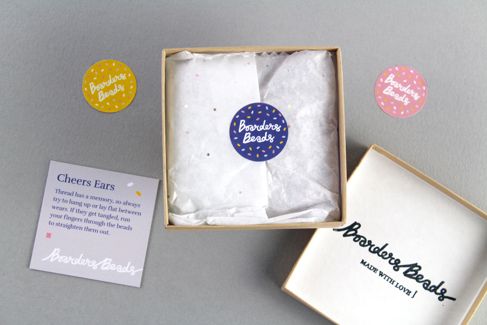 Brand stationery and packaging for Boarders Beads