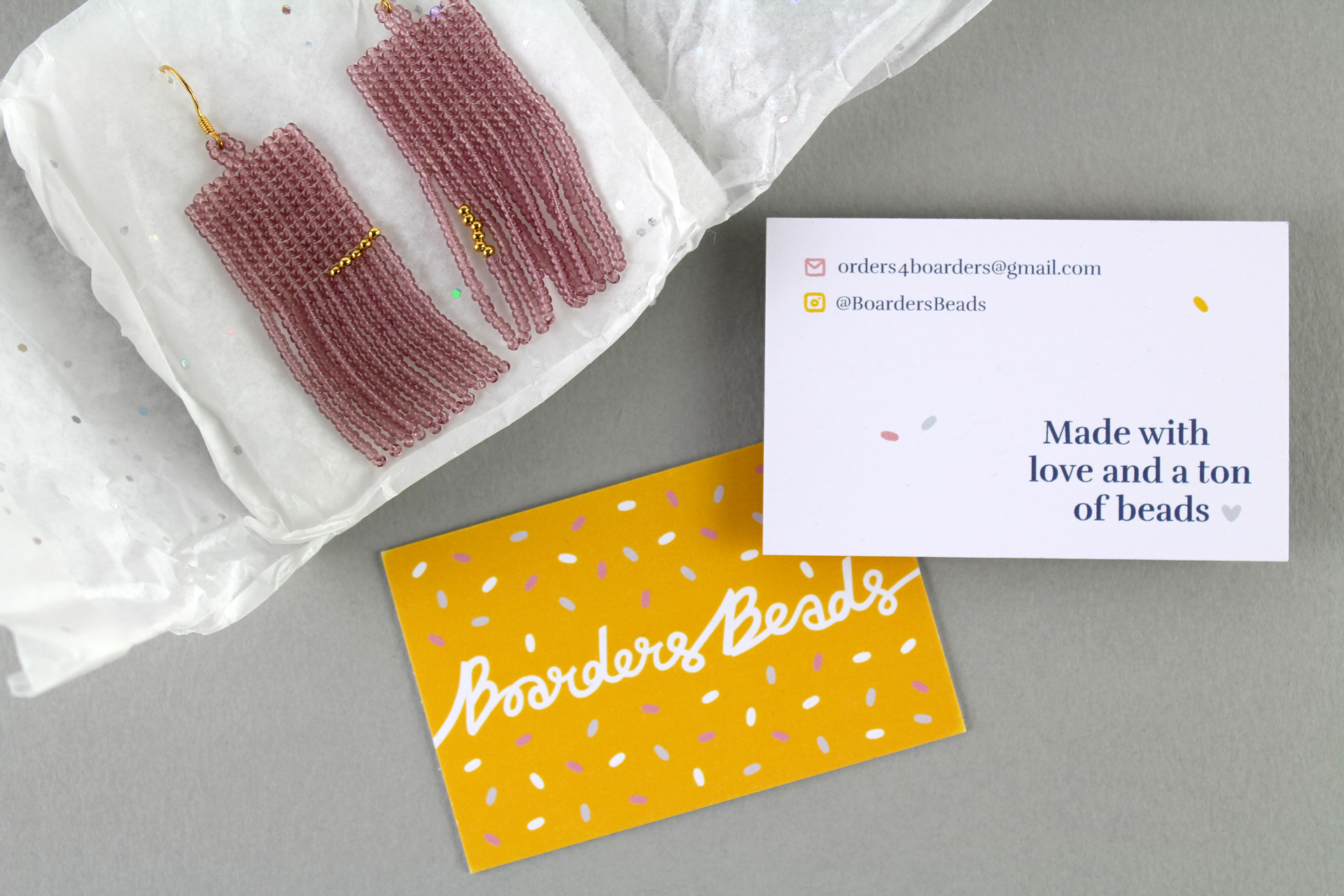 Brand stationery for Boarders Beads