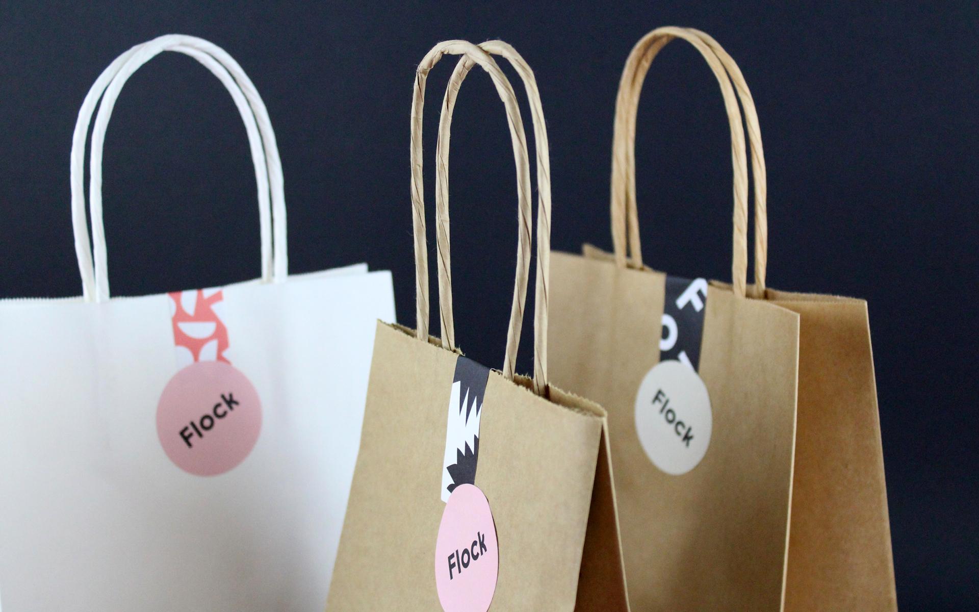 Flock branded bags packaging