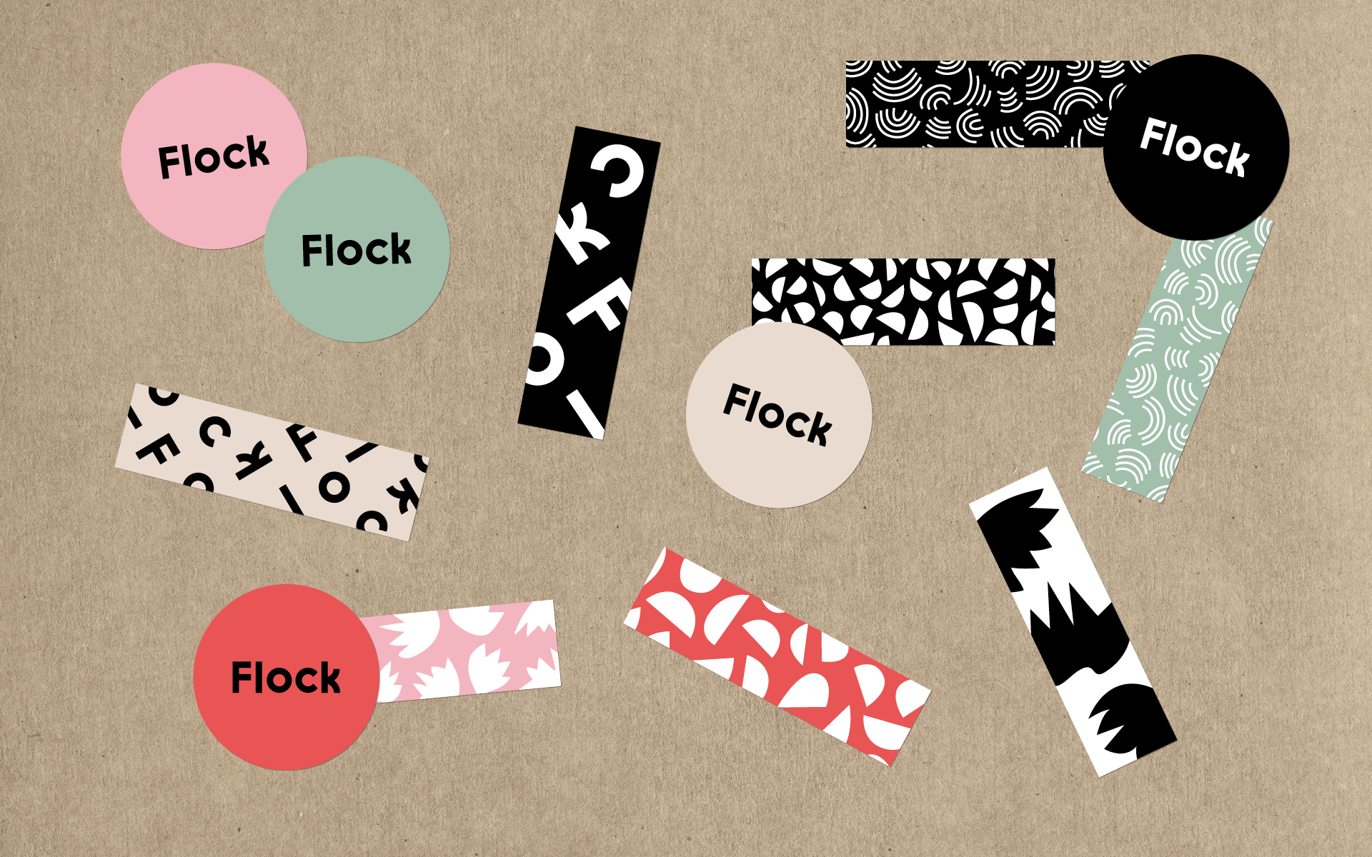 Flock stickers and brand pattern