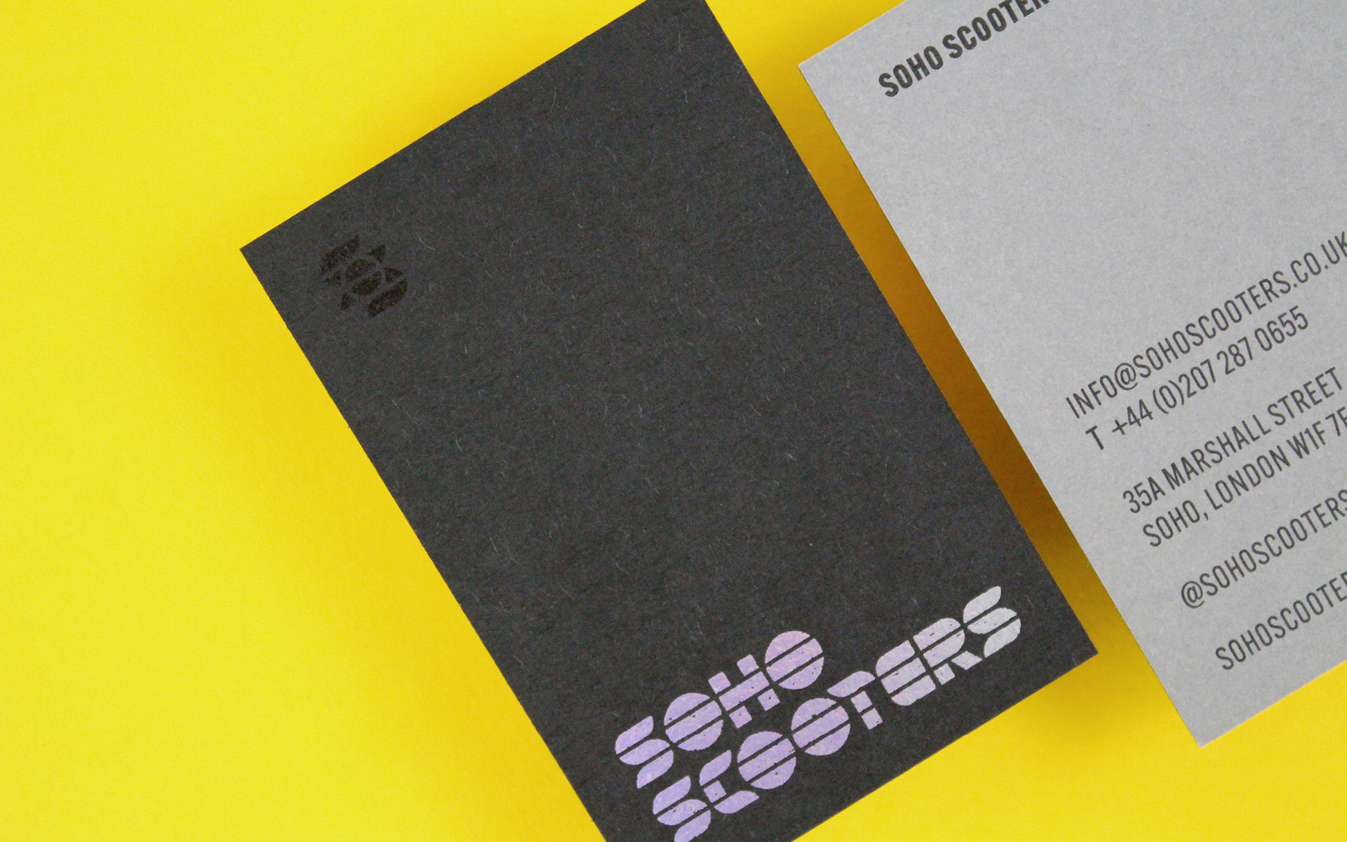 Business card design for Soho Scooters